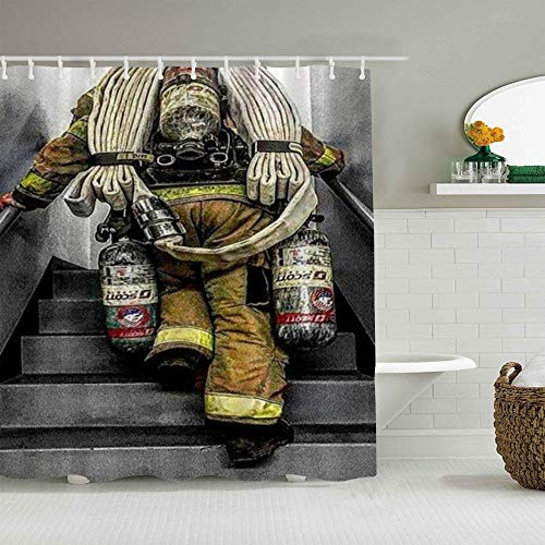 SUHOM Duschvorhang,Feuerwehrmann Feuerwehr Flaggenmuster Digitaldruck,personalisierte Deko Badezimmer Vorhang,mit Haken,180 * 180