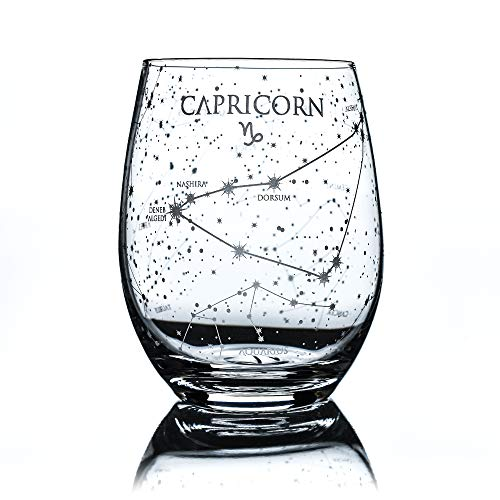 Greenline Goods Capricorn Stemless Wine Glass | Etched Zodiac Capricorn Gift | 15 oz (Single Glass) - Astrology Sign Constellation Tumbler