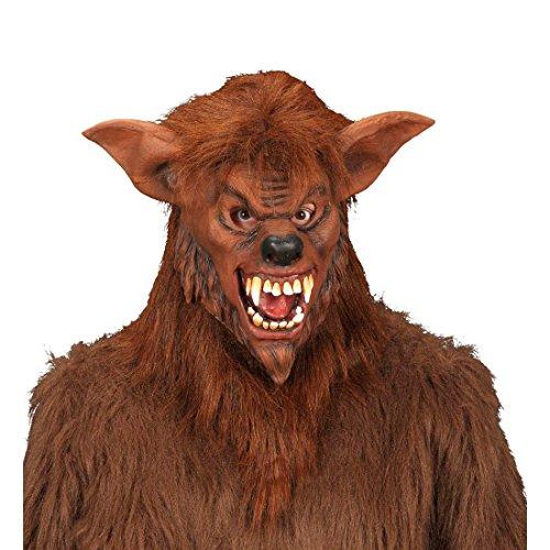 Amakando Werwolf Maske Monster Faschingsmaske Plüsch Halloween Wolfsmaske Monster Horrormaske Grusel Bestie Karnevalsmaske Wolf Halloweenmaske