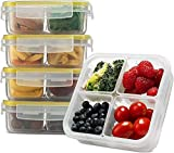 Komax Biokips Snack Containers For Kids and Adults | Lunch Box Containers With 4 Removable Compartments [23-oz] | Meal Prep Snack Containers | BPA-Free, Dishwasher & Microwave Safe