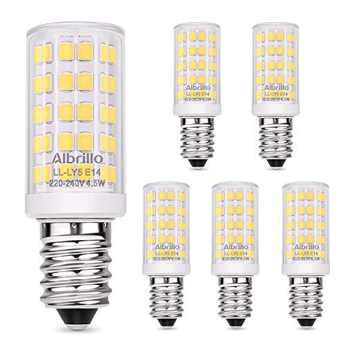 Albrillo E14 LED Lampe Kaltweiß 6000K mit 64 SMD LEDs, 4.5W /400LM Glühbirne Ersatz 50W Halogenlampen, 360°Abstrahlwinkel für Kronleuchter, Wandlampe, Kühlschrank und Dunstabzugshaube, 5er Pack