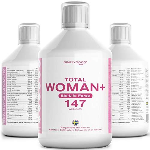 SimplyGood Total Woman Vital Mikronährstoffkonzentrat mit Multivitamine Mineralstoffe Spurenelementen und Pflanzenstoffen -147 Inhaltsstoffe für Energie Gewichtskontrolle PMS-Linderung Stress und Mehr