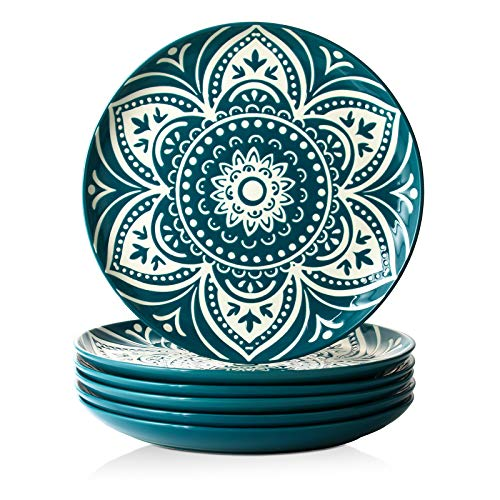 ZONESUM Dinner Plates - 10 Inches Dessert Plates, Ceramic Serving Plates Serving Dishes for Appetizer Dessert, Ideal for Family Gathering Party, Dishwasher & Microwave Safe, Set of 6, Peacock Blue