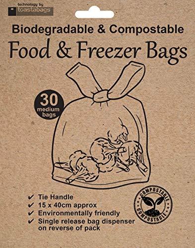 Lebensmittel- und Gefrierbeutel, biologisch abbaubar und kompostierbar, 30 Stück
