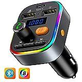 Bovon Bluetooth FM Transmitter Auto, [TYP-C-Laden] [mit Bass Sound] Bluetooth Adapter Auto Radio...