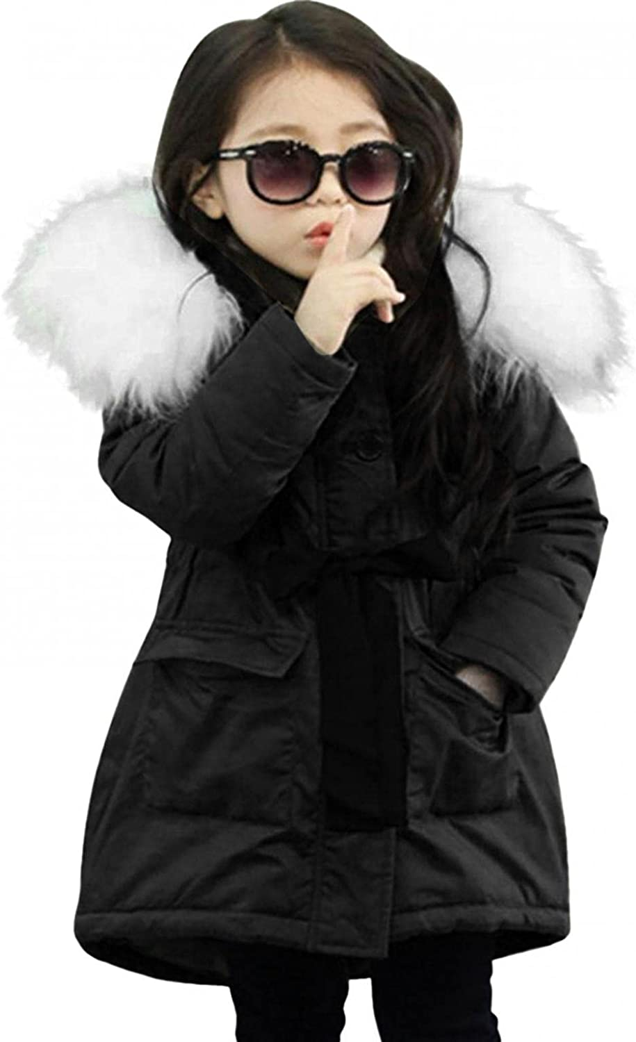 Girls Kids Winter Mid-Long Fur Hooded Cool Parkas Jacket Zipper Cold Thermal Outerwear 2-12 Years