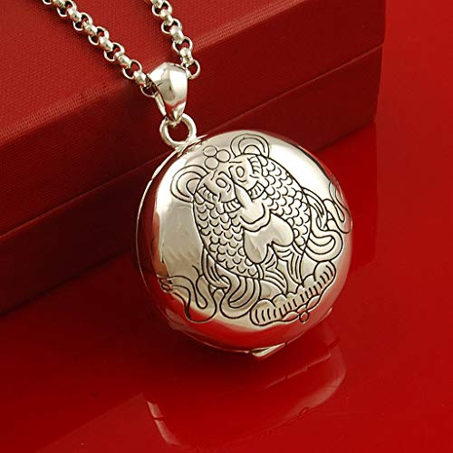 Dzwyc Locket Necklace Pisces Sterling Silver Necklace Auspicious Round Photo Locket That Holds Pictures Necklace Keepsake Jewelry Necklace (Color : Silver, Size : 3 mm thick 50 cm long chain)