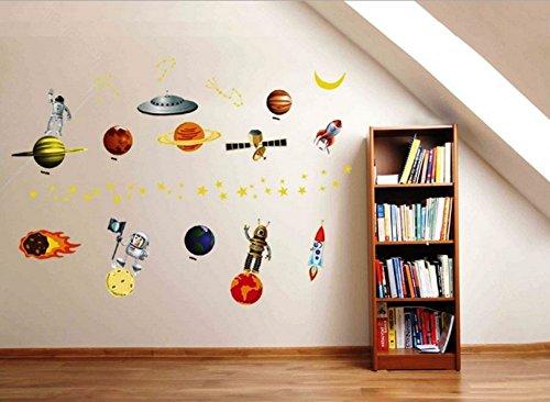 Vaisseau spatial Planètes 3D Cosmos Robots Une collection de planètes Ensemble Chambre Amovible Mural Garderie Decal Décor Bébé Art Autocollant mural Autocollants Décoration Des gamins