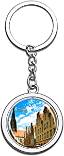 Hqiyaols Keychain Germany Munster Souvenirs Crystal Spinning Round Stainless Steel Key Chain Ring Travel City Gifts Metal