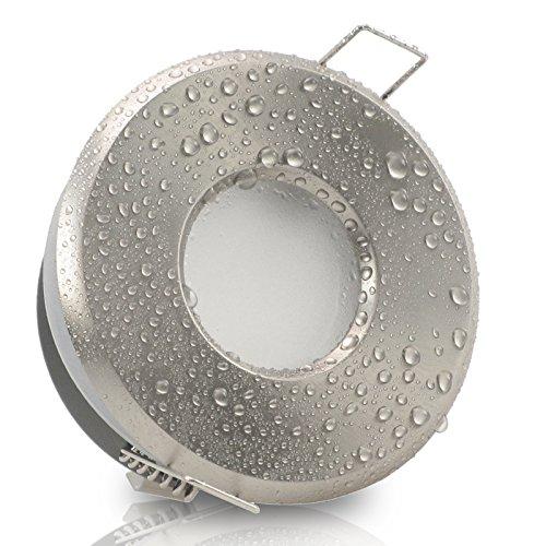 MERANO rund IP65 Edelstahl Optik gebürstet 3er Set Decken Einbaustrahler 230V LED dimmbar GU10 ca. 5W in 3 Stufen dimmen ohne Dimmer Warmweiss 3000k Bad Feuchtraum