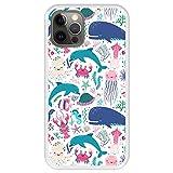 Hapdey Funda Transparente para [ Apple iPhone 12-12 Pro ] diseño [ Animales subacuáticos, Algas y corales ] Carcasa Silicona Flexible TPU