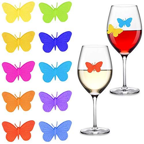 Gresunny 10 pezzi segnabicchieri silicone marcatori per bicchieri di vino per feste segnabicchier farfalla con ventosa identificativi per vetri riutilizzabili marcatori per vino tazza per bar party