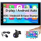 Radio Coche Bluetooth 2 DIN Apple CarPlay y Android Auto CAMECHO 7 Pulgadas con Pantalla Táctil FM Enlace Espejo para Teléfono Android iOS Doble USB+ Cámara Trasera+ Micrófono Externo