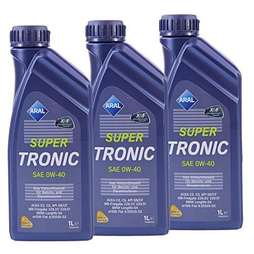 3x 1 L Liter ARAL SuperTronic 0W-40 Motoröl