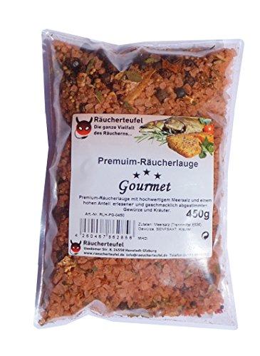 Räucherteufel Premium-Räucherlauge Gourmet 450g, Meersalz, Gewürze und Kräuter, Räucherlake für Fisch