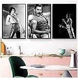 Freddie Mercury Queen Musician Rock Band Legendario Pop Star Art Poster Pintura de la lona Imagen de...