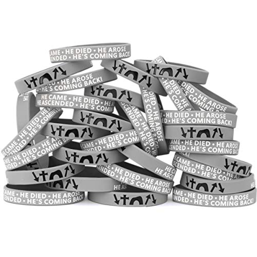 SayitBands One Hundred He Came Died Arose Ascended Coming Back Wristband Bracelets