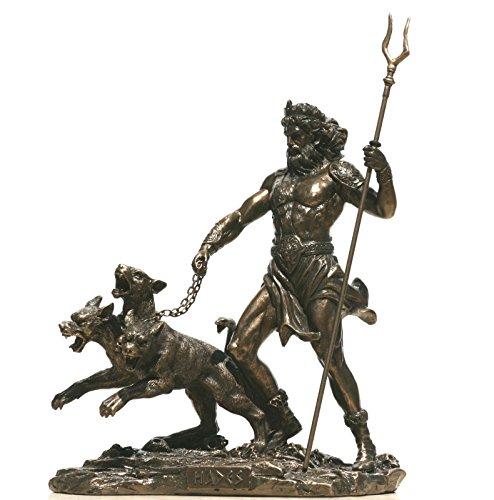 e-katastima Hades Pluto God of Underworld & Cerberus Decorative Statue Sculpture Figure Bronze Finish 7.87