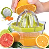 Zulay Premium Citrus Juicer Manual Hand Squeezer for Oranges, Lemons & Limes - Lemon Juicer Squeezer with Built-In 12 oz Measuring Cup, Strainer & Vegetable Grater - Top Orange Juicer Manual Squeezer