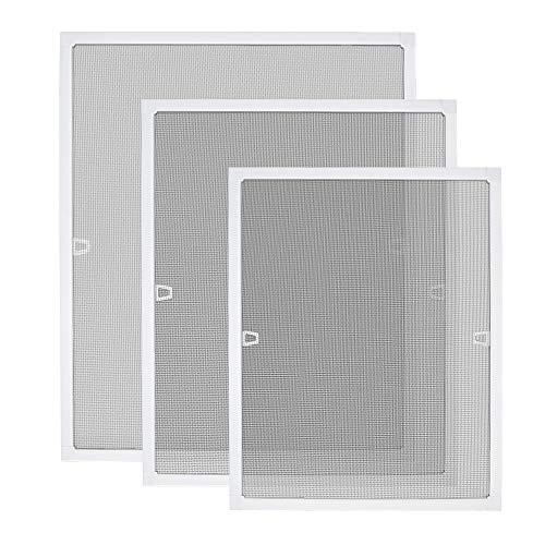 Aufun - Zanzariera per finestra, con telaio di bloccaggio, in alluminio e fibra di vetro, Bianco