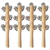 Tomaibaby 4 Stücke Kinder Handglocke Baby Schellenrassel Holz Musikinstrumente 13 Rasseln in 4 Reihen Schellenstab Percussion Rhythmus Instrumente Weihnachten Geschenke Mitgebsel Spielzeug