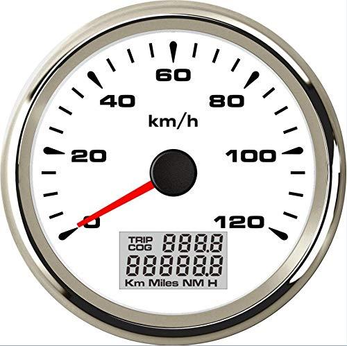 No-branded Odometer Spur 0-120km / h Auto GPS Speedometers Tuning 85mm Trip Meter wasserdichte 9-32V 8 Arten Farbe der Beleuchtung ZHQHYQHHX (Color : Weiß, Size : Kostenlos)