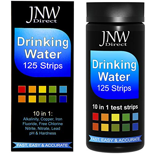 JNW Direct Drinking Water Test Strips 10 in 1, Best Kit for Fast, Easy & Accurate Water Quality Testing at Home, Free App & Ebook Included (125 Strips)