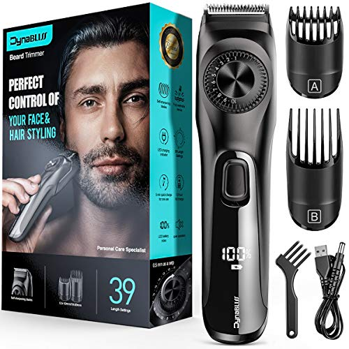 Adjustable Beard Trimmer for Men ,DynaBliss Professional Mens Stubble and Beard Hair Trimmer Cordless and Rechargeable with 2 Combs and LED Display