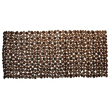 NTTR Non Slip Bath Mat Anti-Bacterial Tub Mat Pebbles Bathtub Mat Slip Resistant Shower Mats(Clear Black,16 W x 35 L Inches)
