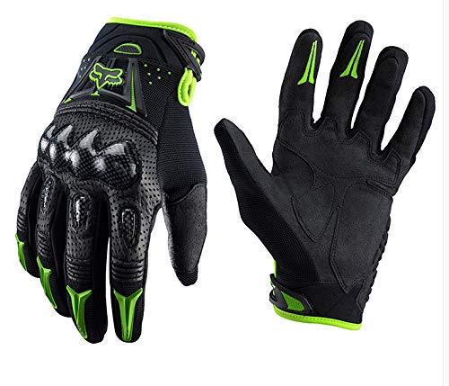 Q_STZP Handschuh Handschuhe Fäustling Motorrad Gloves_Carbon Fiber Case Motorrad Handschuhe Motorrad Hard Shell Handschuhe Outdoor Cross Country Handschuhe Reithandschuhe, Grün, XL