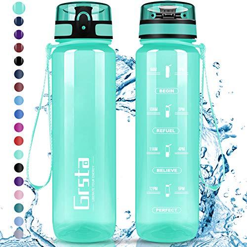 Grsta Botella Agua - Botella de Agua Deportes 1L Botella Deportiva Tritan de Plástico Sin BPA con Filtro & Marcador de Tiempo para Niños y Adultos, Hogar y Exterior