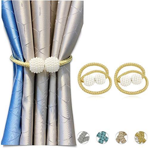 Paquete de 2 alzapaños magnéticos para cortinas de cortina con perlas decorativas de 16 pulgadas, para cortinas transparentes y cortinas opacas, sin necesidad de taladrar, Dorado