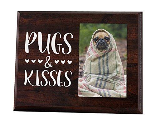 Elegante Schilder Mops Geschenk Bild Rahmen für Liebhaber von Pugs und Kisses–Easy Change Foto