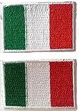 b2see Fahnen Flagge Aufnäher Patches für Jacken Jeans Kleidung Bügelbild Flicken Stoff Patch Kleider Italien Azzurro zum aufbügeln Aufnäher 2 er Set je 3 x 4 ,5 cm Italien
