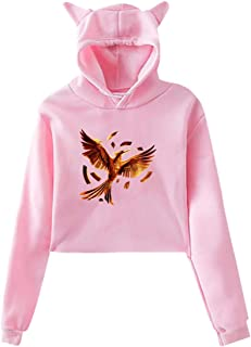 Woman The Hunger Games Mockingjay Stamp Umbilicus Hooded Cat's Ear Long Sleeves Fashion Hoodie Black