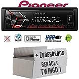 Autoradio Radio Pioneer MVH-S100UI - | MP3 | USB | Android | iPhone Einbauzubehör - Einbauset für Renault Twingo 1 - JUST SOUND best choice for caraudio