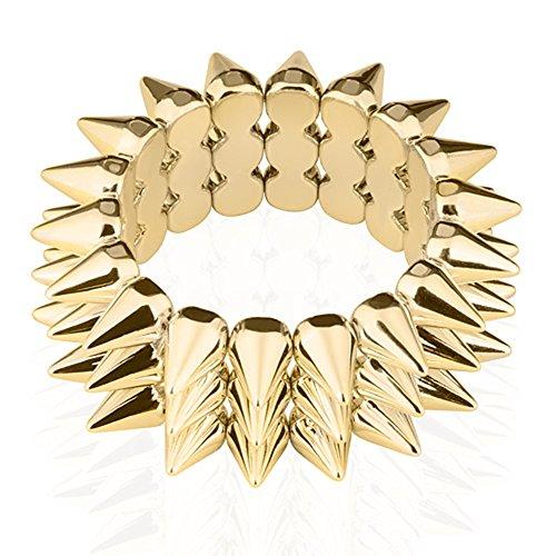 Mianova Damen Stachel Armband Armreif mit Spikes elastisch Gold
