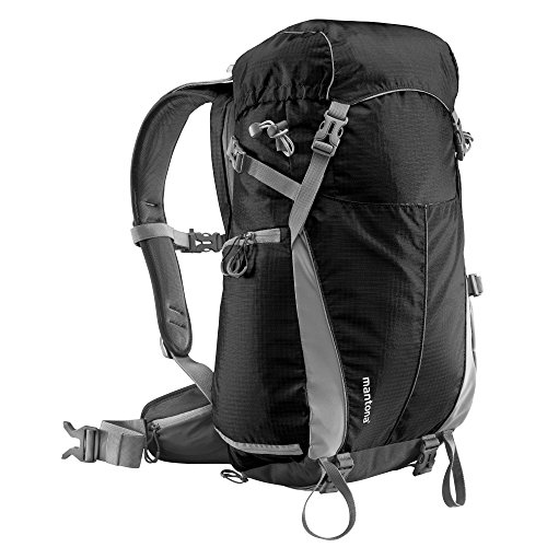 Mantona Elements Outdoor Rucksack (inkl. Regenschutzhülle, Laptop/Tabletfach, herausnehmbarer Kameratasche mit Tragegurt, geeignet für DSLR, Systemkamera, zwei Objektive und Kleinzubehör) schwarz