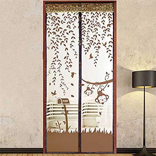SUIYI marrón Cortina Mosquitera Puerta 140x240cm / 55x94inches Mosquitera para Cama para Patios, pasillos, Balcones, Puertas correderas, Sala de Estar,Fácil de Montar sin Taladrar