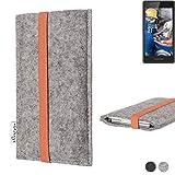 flat.design Handy Hülle Coimbra für Fairphone Fairphone 2 - Schutz Case Tasche Filz Made in Germany hellgrau orange