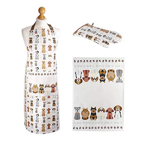 SPOTTED DOG GIFT COMPANY Set 3 Strofinacci da Cucina, Grembiule e Guanto da Forno, Disegno di Cani Idee Regalo Donna Originale per Gli Amanti dei Gatti e Cuochi