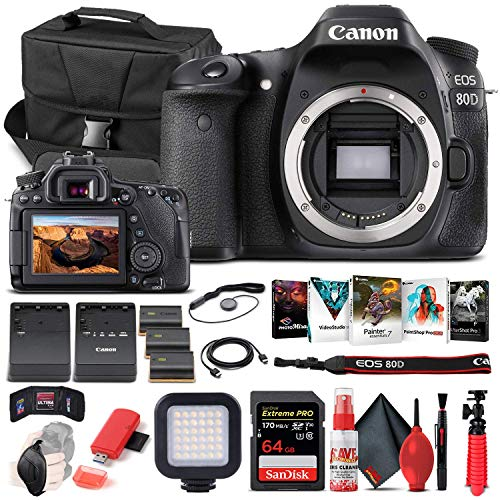 Canon EOS 80D DSLR Camera (Body Only) (1263C004) + 64GB Memory Card + Case + Corel Photo Software + 2 x LPE6 Battery + External Charger + Card Reader + LED Light + HDMI Cable + More (Renewed)