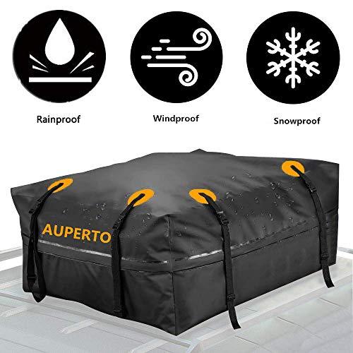 AUPERTO Cargo Bag, Rainproof Roof Storage Bag Compatible Truck ATV Canvas Jeep(15 Cubic Feet)