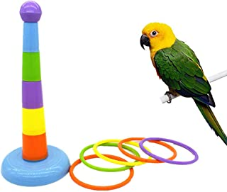 Wontee Bird Colorful Rings Training Toy Parrot Intelligence Development Interactive Toy for Budgie Parakeet Cockatoo Macaw African Grey