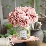 Oulensy Flores Artificiales Peony Bouquet para la decoración 5 Cabezas PeoniesFlowers Decoración de Seda de Flores hortensias Barato