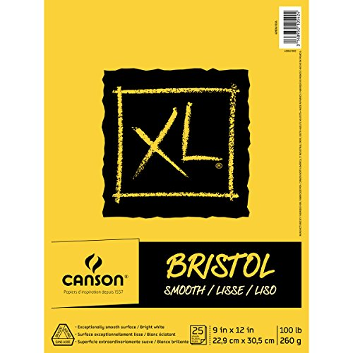 Canson XL Series Bristol Pad, Heavyweight Paper for Ink, Marker or Pencil, Smooth Finish, Fold Over, 100 Pound, 9 x 12 Inch, Bright White, 25 Sheets