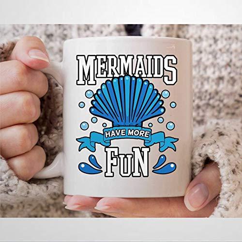 Mer-Maids Have More Fun Taza de café divertida Mer-Maid cumpleaños taza para mujer fresca bajo el agua regalos para niñas Mer-Maid Lover taza de té para ella