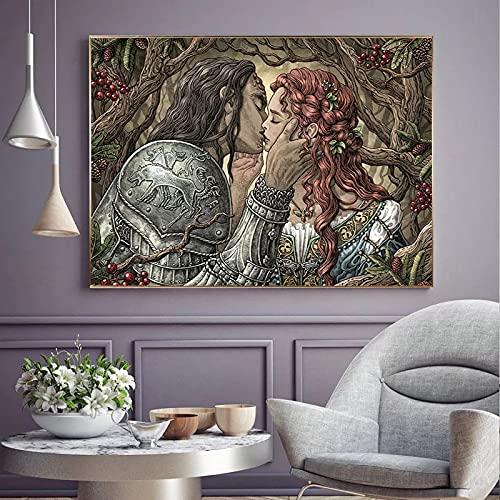 HANDADA Pintura de Lienzo decoración de impresión de Arte de Pared Moderno/Pintura de Personaje de Cuento de Hadas Retro Personaje de película de Pareja de Pared/Imagen decoración Moderna d