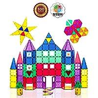 Set di gioco di piastrine magnetiche da 100 pezzi - Questo set classico di Playmags consente ai bambini di costruire, giocare e imparare per ore di intrattenimento educativo; Consigliato per le età 3+ Magnete piastrelle più potenti - Set Include 82 t...