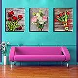 ZXK インクジェット絵画、装飾画、三つの花、壁画、書斎、絵画、ポーチ壁画(フレーム付30×45cm×3) ファッション